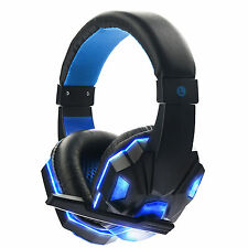 Spiel Gaming Kopfhörer Headset mit Mikrofon LED Surround Sound Stereo Bass 3.5mm