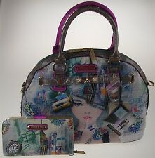 Nicole Lee New York Print Satchel Bag Wallet NY10329 Statue Liberty Taxi Handbag