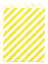 25 Pcs Yellow Diagonal Stripes 5x7 Print Paper Gift Bags Favor Candy Shop