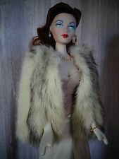 "AllforDoll ""1930s Fashion"" Black Cross MINK Fur WRAP for 16"" Tonner Madra Doll"