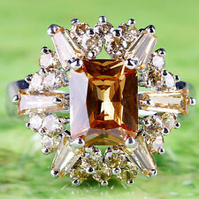 Party Jewelry Emerald Cut Morganite Gemstone Silver Ring Size 10 Free Shipping