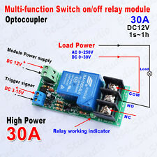 DC12V 30A Multifunction Delay Time Turn on/off  Relay Module Switch Trigger