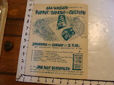 Vintage MARIONETTE Paper:1961 GIA WALLACE puppet theatre for children POSTER