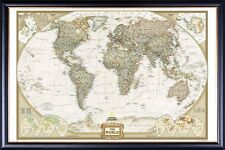 FRAMED LARGE WORLD MAP POSTER WALL PRINT CLASSIC Perfect for Tracking Pins
