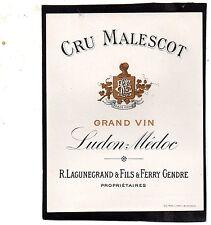 LUDON VIEILLE ETIQUETTE CRU MALESCOT 1900/1920     §23/11/16§