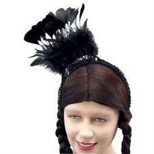 Black Feather Western Saloon Can Can Lady Head Band Fancy Dress NEW P1936