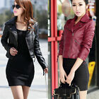 Womens Fashion PU Leather Biker Motorcycle Jacket Zip Casual Short Outwear Coat