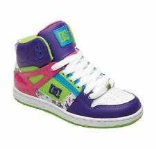 DC - REBOUND Hi Womens Shoes (NEW) Size 5  SKATE FOOTWEAR White Purple Soft Lime