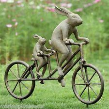 """Rabbit Tandem Bicycle Bunnies Garden Sculpture Bike Bunny Metal Statue 28""""W"""