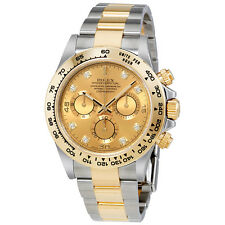 Rolex Cosmograph Daytona Champagne Diamond Dial Steel and 18K Yellow Gold Mens