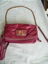 GUESS Dianne Hot Pink Eco-Leather Wristlet Clutch with gold studs & protective b