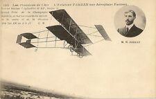 CARTE POSTALE AVIATION LES PIONNIERS DE L'AIR AVIATEUR FARMAN SUR AEROPLANE