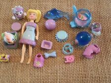 "Polly Pocket Lot ""Colors of the Rainbow"" Doll Blue Pets Cat Dog Accessory L41"