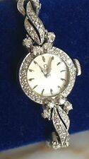 Art Deco Omega Watch 14k White Gold and 98 Diamonds