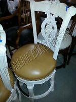 Frontgate Provencal Grape Wood Barstool Chair leather Counter BAR Stool 30 WHITE