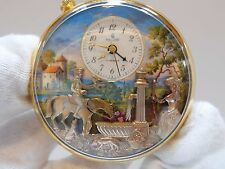 VINTAGE REUGE MUSIC BOX AUTOMATON MUSICAL ALARM POCKET WATCH (WATCH VIDEO)
