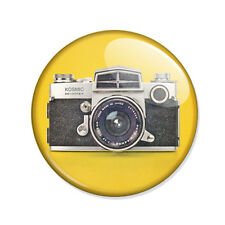 Badge APPAREIL PHOTO REFLEX VINTAGE Camera 70's pop retro jaune yellow pin Ø25mm