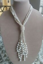 Beautiful Natural Baroque Creamy White Pearl Crystal Bead Necklace 20.5 ""