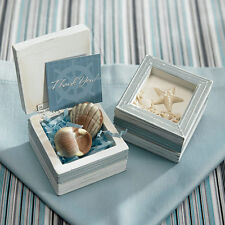 Set of 12 Beach Wedding Guest Favor Gift Starfish Topped Wooden Trinket Boxes