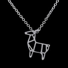 FREE GIFT BAG Silver Plated Deer Cute Origami Necklace Xmas Reindeer Jewellery
