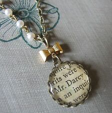 """SEARCHING FOR DARCY"" Pride & Prejudice Necklace with Vintage Book Text Austen"