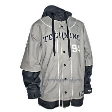 TECHNINE Mens 2014 Snowboard Athletic Gray/Black/White THROWBACK JACKET SMALL