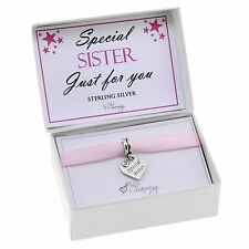 925 Sterling Silver Special Sister Charms Bead Gift Boxed For Charm Bracelets