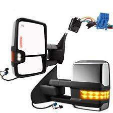 L+R 03-06 Silverado Sierra Power+Heated+LED Signal Chrome Telescoping Tow Mirror