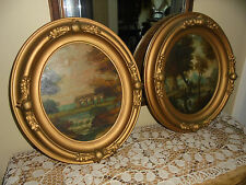 Antique Pair Victorian Era Picture Frames Lanscape oil paintings