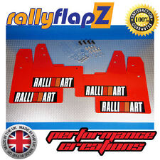 rallyflapZ MITSUBISHI EVO 7 (01-03) Mud Flaps Red Ralliart White R&O Blk 3mm PVC