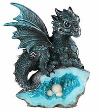 "5"" Blue Medieval Baby Dragon with Crystal Egg Nest Decorative Figurine Statue"