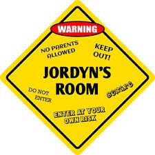 """*Aluminum* Jordyn's Room Kids Room Door 12""""x12""""  Metal Novelty Sign"""