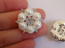 2 large crystal buttons pearl rhinestone diamante upholstery wedding silver UK 3