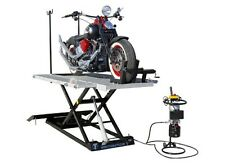 New Titan 1500 LB XLT Electric & Hydraulic Motorcycle Lift with Vise & Side Ext.