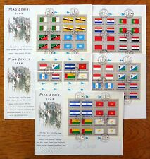 UNITED NATIONS 1989 Flag Series Sheetlets on 5 FDC's NEW PRICE FP8562