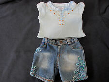 Build a Bear Clothes Baby Blue Top with Sequins and Nice Designer Jeans