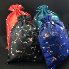 4pcs Chinese Embroidered Flowers Silk Clothes Pouch Shoes Drawstring Purse Bags