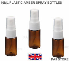3x 10ml Amber Spray Atomizer Bottles Plastic - Empty - Perfume Fragrance PET UK