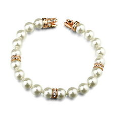 18k Rose Gold Filled Bridal White Pearl Bracelet Made With Swarovski Crystal T21