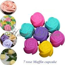 7 Pcs Silicone Rose Cup Cake Tray Chocolate Muffin Mould Ice Cream Maker Mold