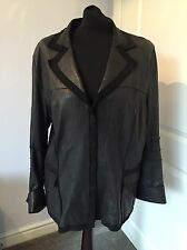 Amazing Luisa Cerano Super Soft Black Leather Jacket Coat Size 44
