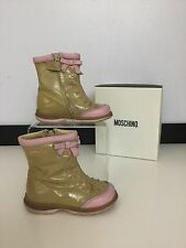 Moschino bébé fille taille 5.5 22 chaussures boots nude beige rose cuir verni vgc