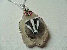 "Handsome badger necklace hand painted english sea glass 18"" silver plated chain"