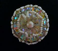 Vintage marked Vendome aurora borealis crystal faux pearl brooch ruffled wired