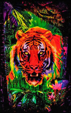 JUNGLE TIGER - BLACKLIGHT POSTER - 24X36 FLOCKED NATURE WILDLIFE CAT 6032