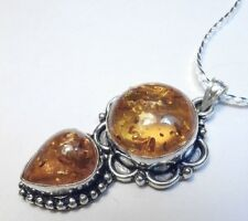 Baltic Amber 925 Sterling Silver Pendant Necklace AF651