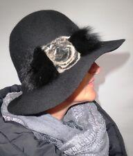 Sombrero mujer en negro elegant Gorro de lana con Pelzapplikation Motivo