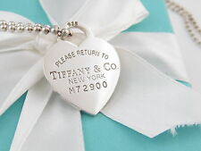 TIFFANY & CO SILVER HEART DOGTAG NECKLACE BOX INCLUDED 34 INCH