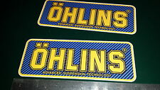 2x Ohlins Full Colour Decals Stickers Blue Carbon , Suspension, Bike, Shock,