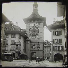 Glass Magic lantern slide THE BERNE CLOCK TOWER . C1900 SWITZERLAND L65